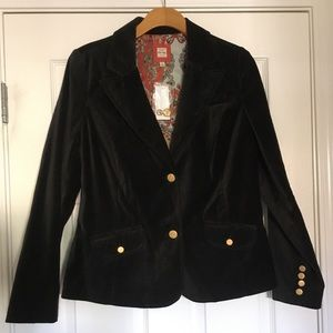 Black Velvet Blazer w/Gold Buttons NWT